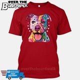 Pit bull Art (Colorful with stars) - DEAN RUSSO LICENSED [T-shirt/Tank Top]-T-Shirt-Red-Small-Over The Boardwalk Shirts