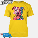 Pit bull Art (Colorful with stars) - DEAN RUSSO LICENSED [T-shirt/Tank Top]-T-Shirt-Yellow-Small-Over The Boardwalk Shirts