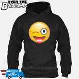 Winking Face With Stuck-Out Tongue Emoji [Hoodie] Hoodie / Black / Small - Over The Boardwalk Shirts