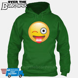 Winking Face With Stuck-Out Tongue Emoji [Hoodie] Hoodie / Kelly Green / Small - Over The Boardwalk Shirts