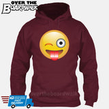 Winking Face With Stuck-Out Tongue Emoji [Hoodie] Hoodie / Maroon / Small - Over The Boardwalk Shirts