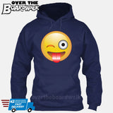 Winking Face With Stuck-Out Tongue Emoji [Hoodie] Hoodie / Navy / Small - Over The Boardwalk Shirts