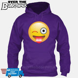Winking Face With Stuck-Out Tongue Emoji [Hoodie] Hoodie / Purple / Small - Over The Boardwalk Shirts