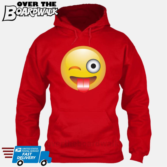Winking Face With Stuck-Out Tongue Emoji [Hoodie]-Hoodie-Red-Small-Over The Boardwalk Shirts