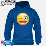 Winking Face With Stuck-Out Tongue Emoji [Hoodie] Hoodie / Royal Blue / Small - Over The Boardwalk Shirts