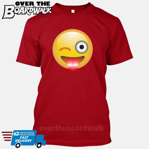 Winking Face With Stuck-Out Tongue Emoji [T-shirt/Tank Top]-T-Shirt-Red-Small-Over The Boardwalk Shirts