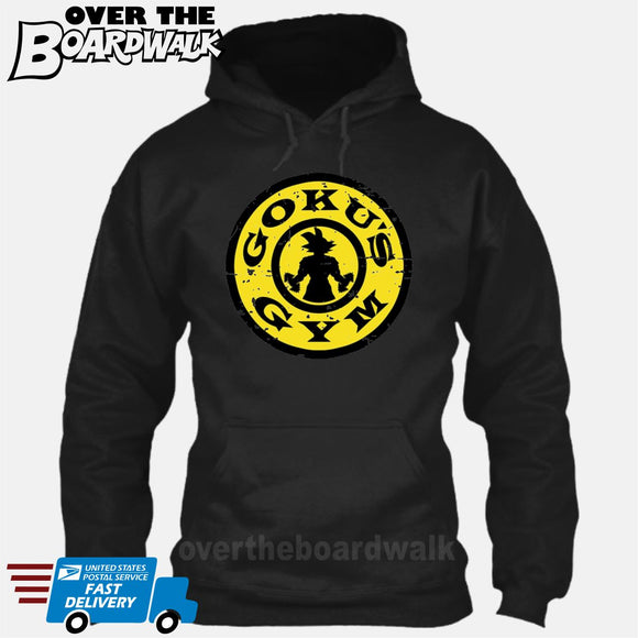 GOKU'S GYM DBZ Gold's Logo Funny Parody [Hoodie] Hoodie / Black / Small - Over The Boardwalk Shirts