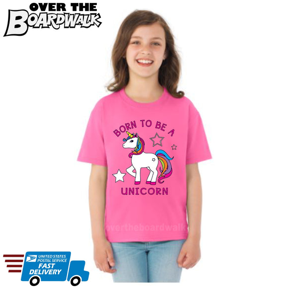 Born to be a Unicorn **Youth Sizes** [T-shirt]  Kids/Children/Girls Sizes [variant_title] - Over The Boardwalk Shirts