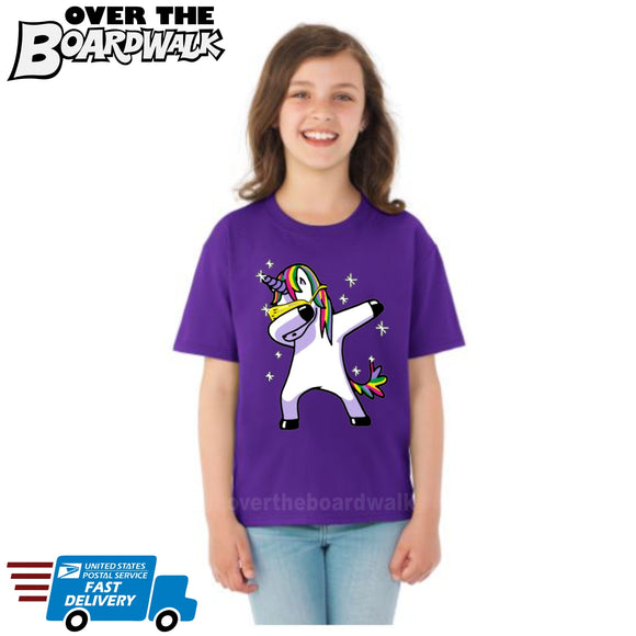 Dabbing Unicorn Dab **Youth Sizes** [T-shirt] Kids/Children/Girls Sizes-Over The Boardwalk Shirts