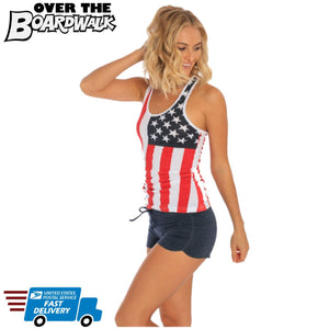 Ladies Racerback Tank Top - USA Flag U.S Flag Pattern - July 4th-Small-Over The Boardwalk Shirts