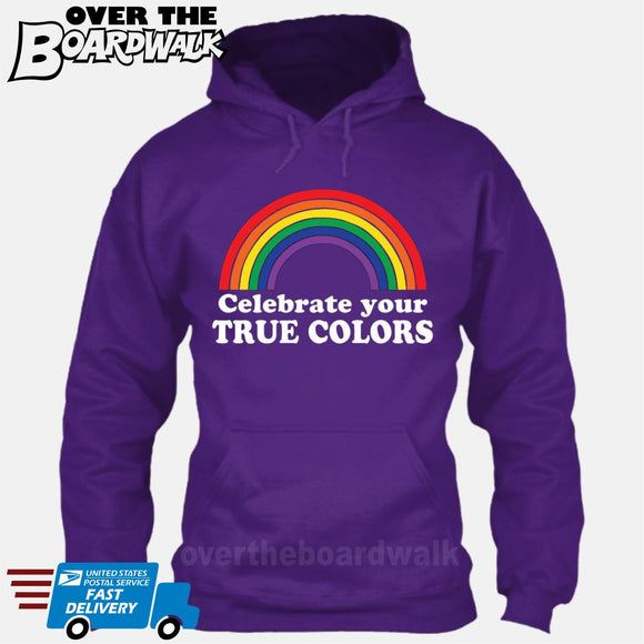 Celebrate Your True Colors (Rainbow) [T-shirt/Hoodie/Tank Top] Hoodie / Purple - over-the-boardwalk