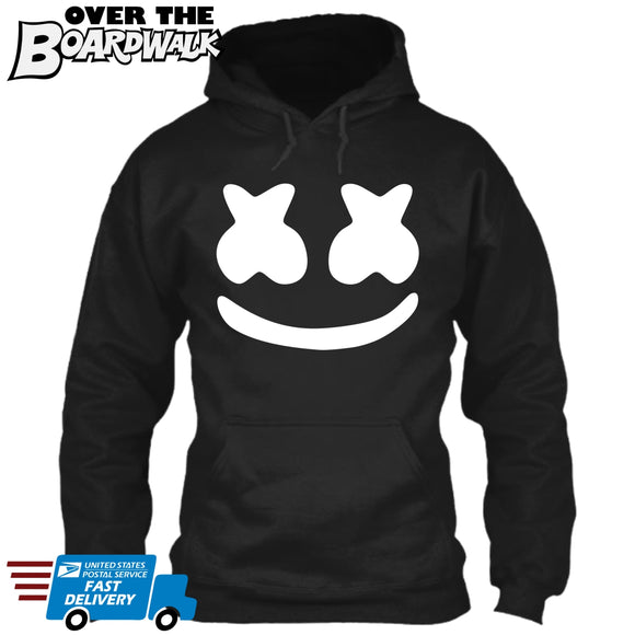 Marshmello Smiley Face *Youth Sizes* [Music Hoodie/Hooded Sweatshirt] DJ Fans Marshmallow Youth Hoodie / Black (White Print) / X-Small (2-4) - Over The Boardwalk Shirts