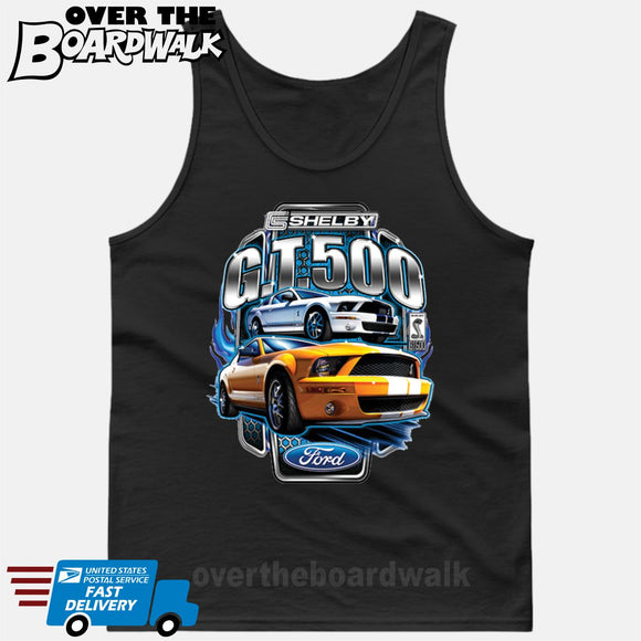 SHELBY GT500 Mustang - FORD LICENSED [T-shirt/Hoodie/Tank Top]-Tank Top (men's cut)-Black-Over The Boardwalk Shirts