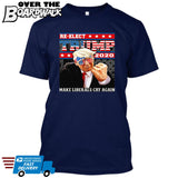 Re-Elect Trump 2020 Make Liberals Cry Again - Reelect MAGA Elections Politics USA GOP Republican [T-shirt]-T-Shirt-Navy-Small-Over The Boardwalk Shirts