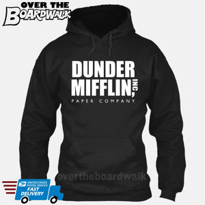 Dunder Mifflin Paper Company Logo Funny TV Joke [Hoodie] Hoodie / Black / Small - Over The Boardwalk Shirts