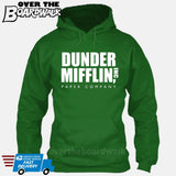 Dunder Mifflin Paper Company Logo Funny TV Joke [Hoodie] Hoodie / Kelly Green / Small - Over The Boardwalk Shirts