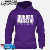 Dunder Mifflin Paper Company Logo Funny TV Joke [Hoodie] Hoodie / Purple / Small - Over The Boardwalk Shirts