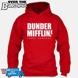 Dunder Mifflin Paper Company Logo Funny TV Joke [Hoodie] Hoodie / Red / Small - Over The Boardwalk Shirts
