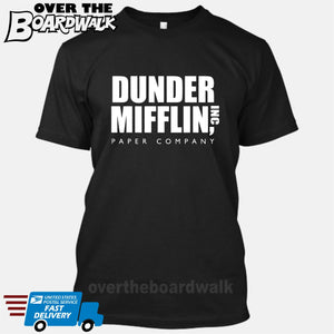 Dunder Mifflin Paper Company Logo Funny TV Joke [T-shirt/Tank Top]-T-Shirt-Black-Small-Over The Boardwalk Shirts