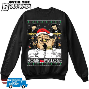 Home Malone / Home Alone |  Post Malone Parody | Ugly Christmas Sweater [Unisex Crewneck Sweatshirt]