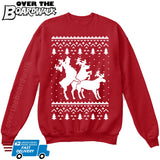 HUMPING REINDEERS | Humping Deers | Ugly Christmas Sweater [Unisex Crewneck Sweatshirt]-Over The Boardwalk Shirts