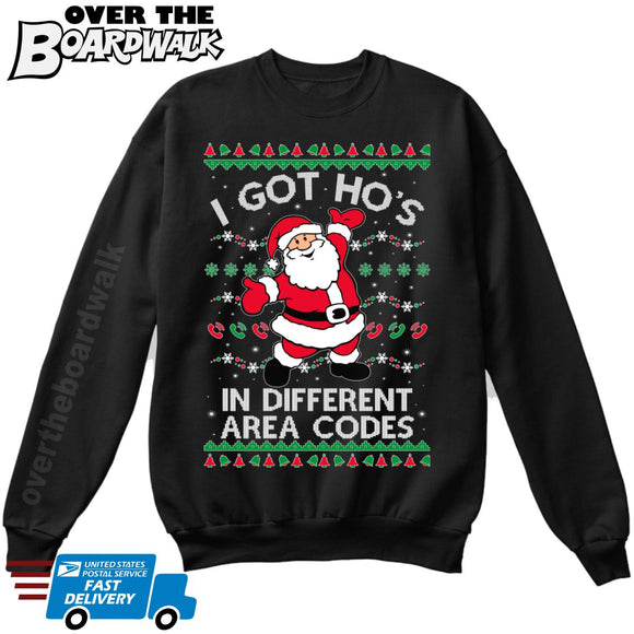 I Got Hos in Different Area Codes | Santa Claus | Ugly Christmas Sweater [Unisex Crewneck Sweatshirt]-Over The Boardwalk Shirts