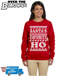 SANTA'S FAVORITE HO | Santa Claus | Ugly Christmas Sweater [Unisex Crewneck Sweatshirt]-Over The Boardwalk Shirts