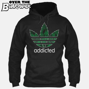 """Addicted"" Weed/Pot/Canabis 3 stripes sports logo [Hoodie] Hoodie / Black / Small - Over The Boardwalk Shirts"