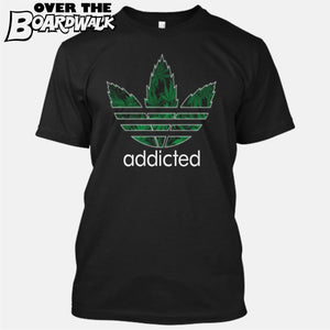 """Addicted"" Weed/Pot/Canabis 3 stripes sports logo [T-Shirt/Tank Top]-T-Shirt-Black-Small-Over The Boardwalk Shirts"