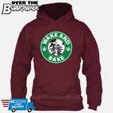 Wake and Bake | Coffee Logo |  Weed | Pot | Cannabis | Pop Culture [Hoodie] Hoodie / Maroon / Small - Over The Boardwalk Shirts