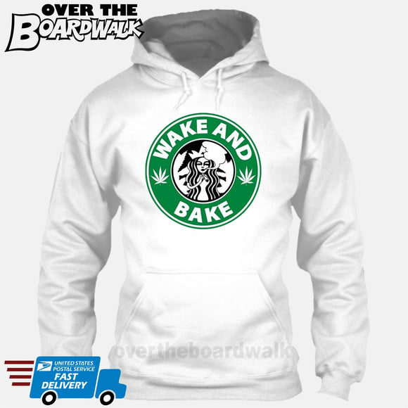Wake and Bake | Coffee Logo |  Weed | Pot | Cannabis | Pop Culture [T-shirt/Hoodie/Tank Top] Hoodie / White - over-the-boardwalk