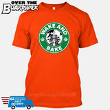 Wake and Bake | Coffee Logo | Weed | Pot | Cannabis | Pop Culture [T-shirt/Tank Top]-T-Shirt-Orange-Small-Over The Boardwalk Shirts