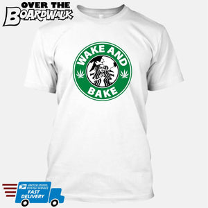 Wake and Bake | Coffee Logo | Weed | Pot | Cannabis | Pop Culture [T-shirt/Tank Top]-T-Shirt-White-Small-Over The Boardwalk Shirts