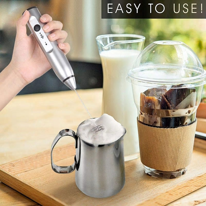 Rechargeable Handheld Electric Milk Frother With 2 Whisks