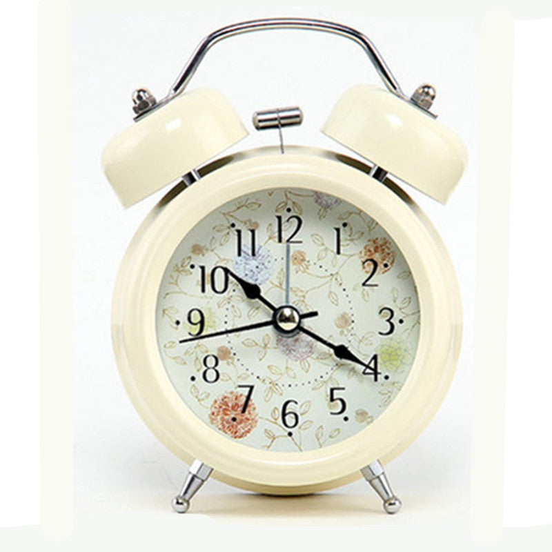 Non-ticking Quartz Analog Retro Vintage Twin Bell Alarm Clock - Organiza