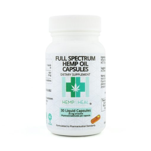 10 VEGAN CAPSULES –Full Spectrum CBD Liquid per Capsule Full Spectrum Hemp Oil Vegan Capsules HEMP & HEAL