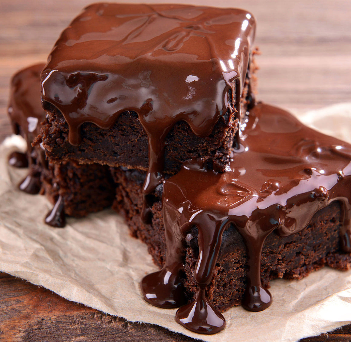 4 slices Million Choc Fudge Brownies Square Cake