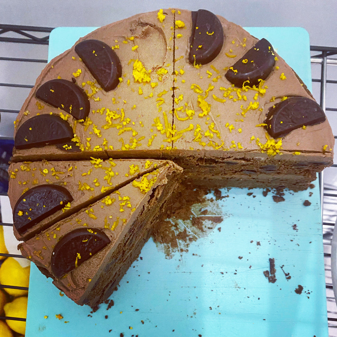 1 slice - 2 layered Orange Chocolate Chip Torte Cake