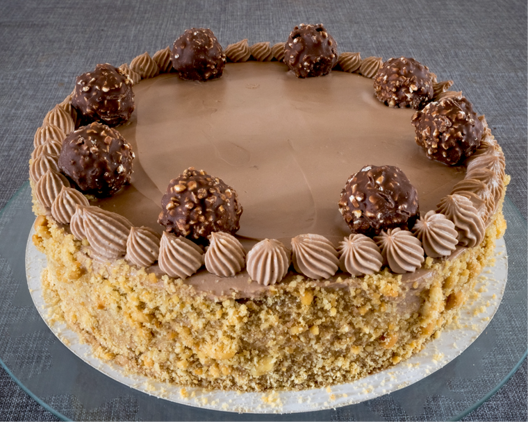 1 Slice Low sugar Rocher no added gluten Hazelnut Cake Torte