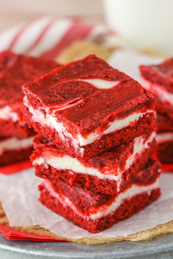 4 slices Red Velvet Cheesecake Brownies Square Cake