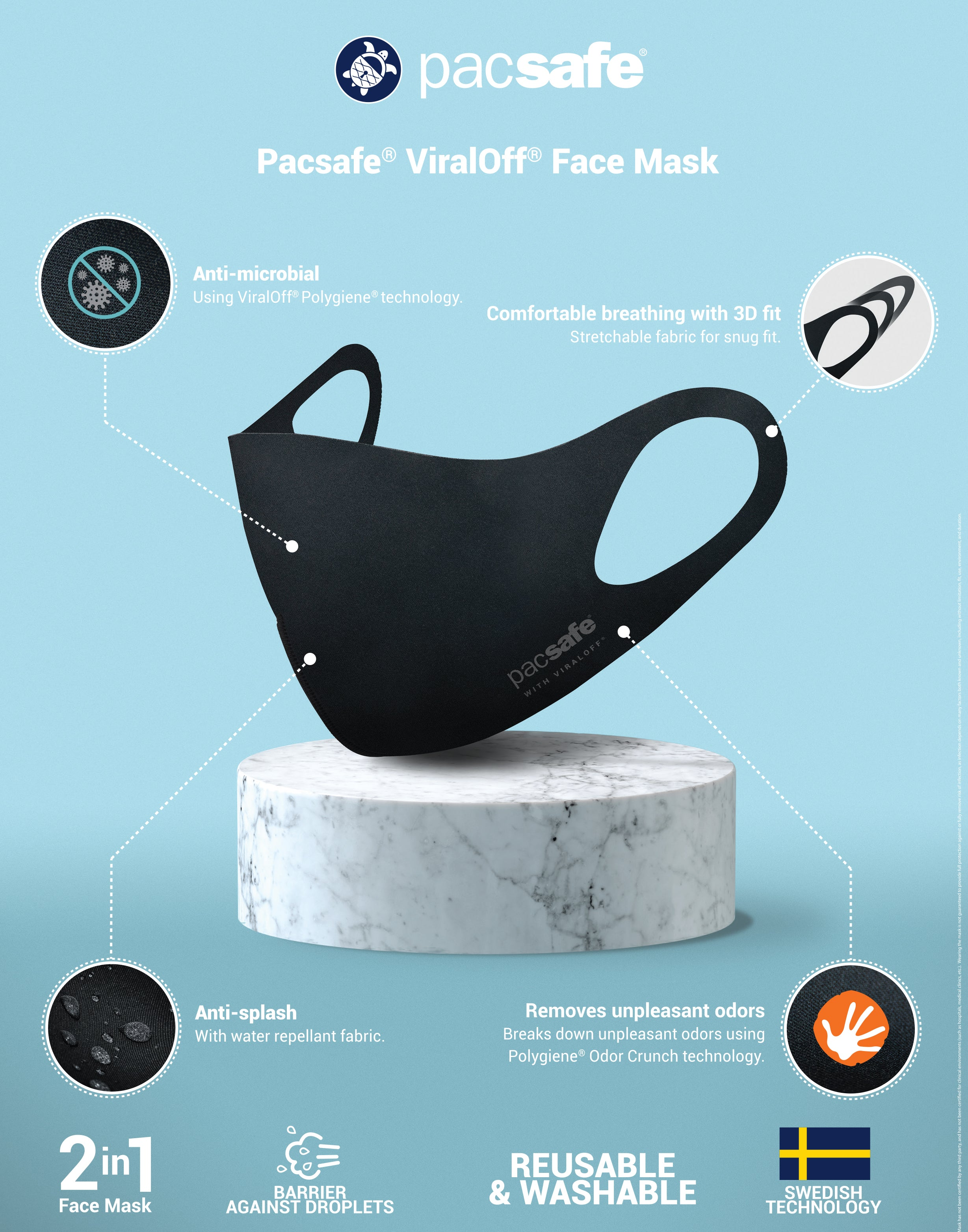 Pacsafe Reusable Facemask Polygiene ViralOFF