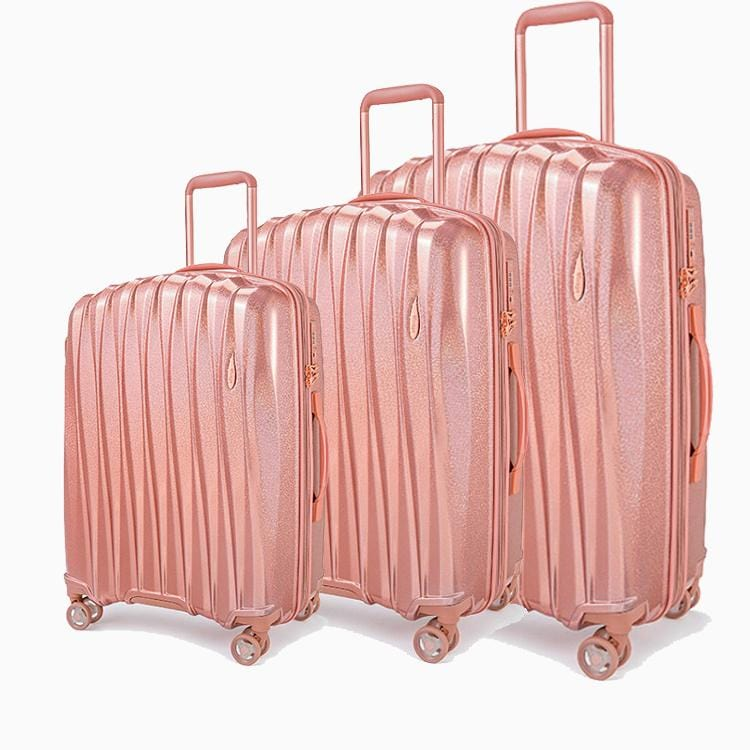 Luggage > Softside Luggage Verage Glitter 3 Pcs Wheel Spiner Set - Luggage CityVerage Rose Gold