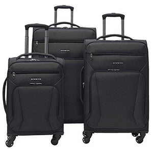 Renwick 3 Piece Softside Lightweight Luggage Spinner Set Black