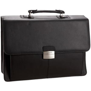 Leather Manhattan 5.5In Double Gusset- Flapover Case - Black - Luggage City