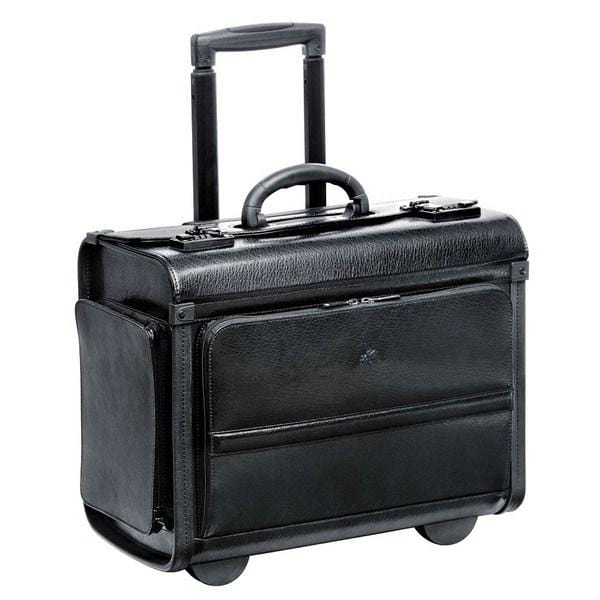 Mancini BUSINESS Collection Wheeled Leather Catalog Case