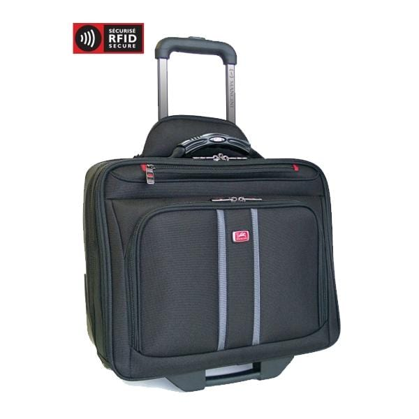 Mancini Biztech Compuroller-Double Compartment Wheeled Laptop Briefcase - Luggage City