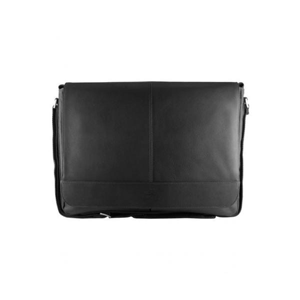 Brand Mancini Leather Laptop And Tablet Messenger Bag - Luggage CityMancini Black