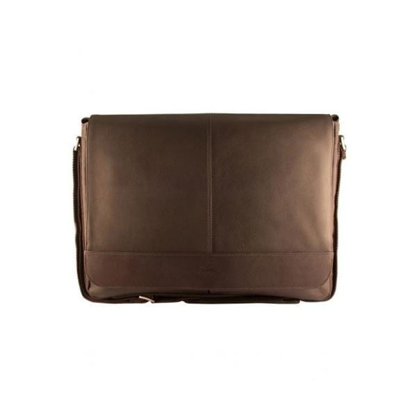 Brand Mancini Leather Laptop And Tablet Messenger Bag - Luggage CityMancini Brown