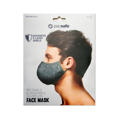 Pacsafe Protective & Reusable Silver iON Face Mask - Luggage City