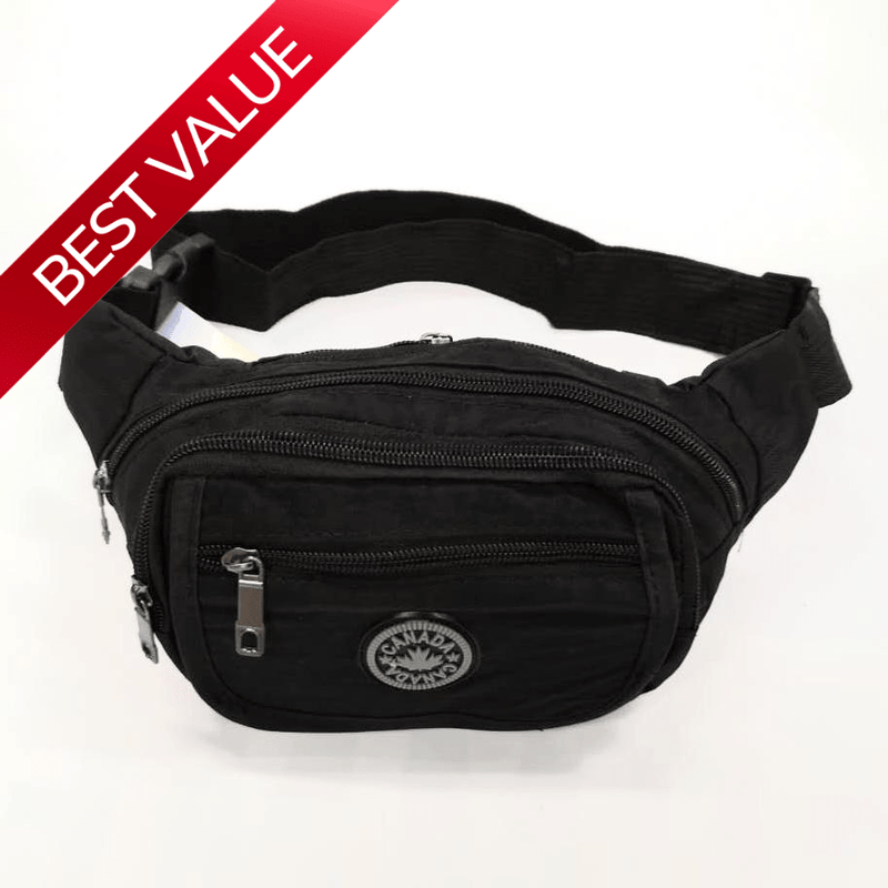 Nylon Waist Pouch with Adjustable Strap and 5 separate pockets - Luggage City